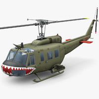 bell uh-1d vietnam helicopter 3d max