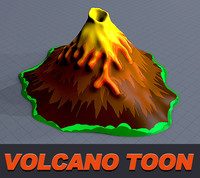 3d volcano caricature