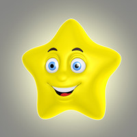 3d cool cartoon star model