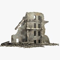 destroyed ruined building war 3d model