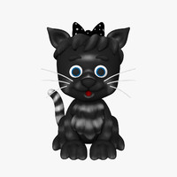 kitten cat cartoon 3d 3ds