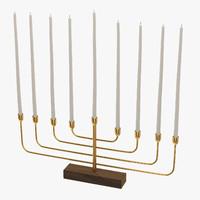 3d menorah gold model