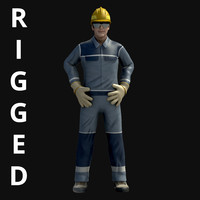 Realistic Worker Rigged