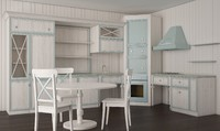 vintage kitchen shabby chic 3d obj