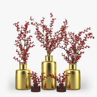 3d berries vase branch model