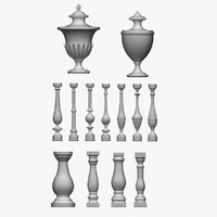 architectural balusters pack urn 3d model