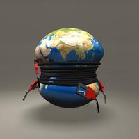 3d petrol pump globe