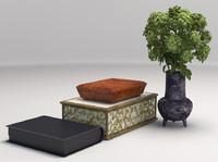 3d model interior design green flowers