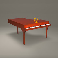 3d model piano red musical