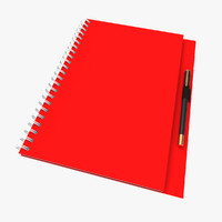 3d model spiral red book pen