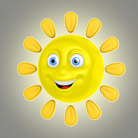 3d cool cartoon sun