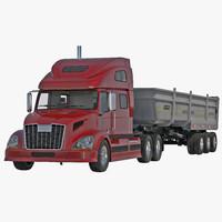 semi dump trailer truck 3d model