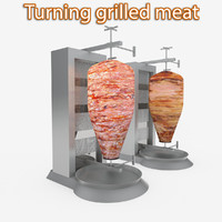 3d doner kebab turned