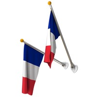 french flags set pole c4d