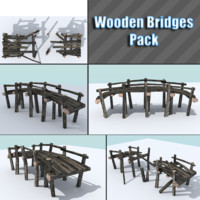 pack wooden bridge 3d 3ds