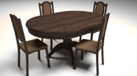 3d dining table chair set