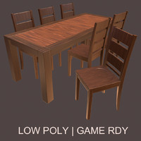 3d model simple table chair set