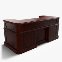 3d vintage wooden desk model
