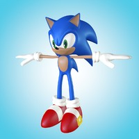 sonic animation rigged 3d obj
