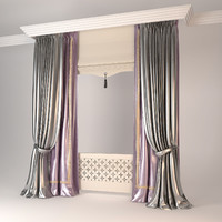3ds max modern double curtains