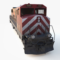 3d cargo train engine locomotive model