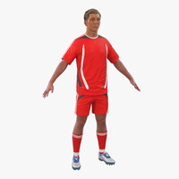 3d soccer player generic hair model