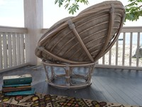 3d papasan chair model