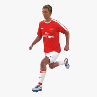 3d soccer player arsenal rigged model