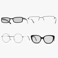 glasses set modeled 3d max