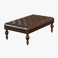3d model carroll leather bench ottoman