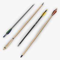 arrows set bow 3d model
