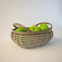3d model basket juicy green apples