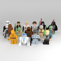 3d rigged lego star wars model