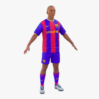 3d soccer player barcelona model