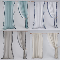 3ds max linen lace curtain