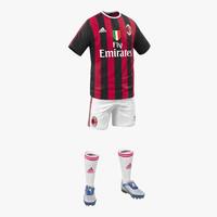 3d soccer clothes milan