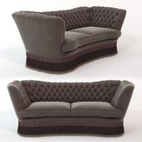sofa library oak 3d obj