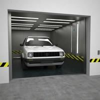 automobile elevator 3d max