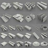 concrete building components 3d model