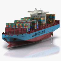 3d 3ds ready container ship boat