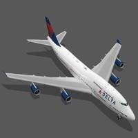 3d model boeing 747-400 delta air lines