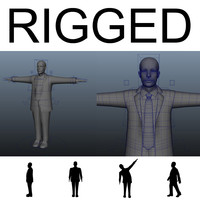 3d model of rigged human male mannequin