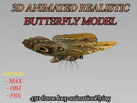 3ds max modeled butterfly animation flying wing