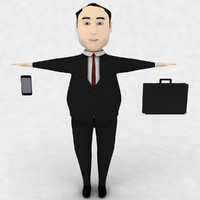 3d cartoon fat business man model