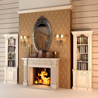 3d fireplace set interior model