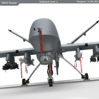 mq-9 reaper military aircraft 3d model