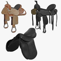 saddles set realistic 3ds