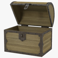 3d model old wooden chest 2
