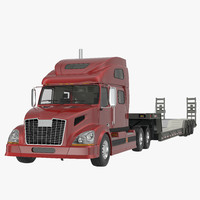 3d model of truck double drop lowboy