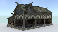 woodcutter house medieval village 3d 3ds